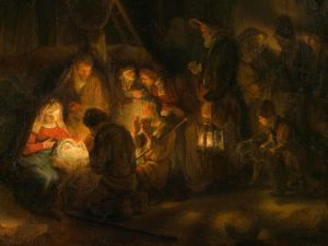 The Adoration of the Shepherds (detail) Pupil of Rembrandt 1646